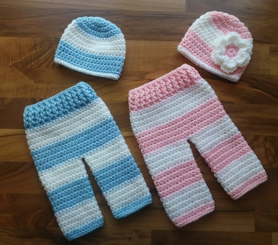 Crocheted Baby Boy and Girl Twin Hat and Pants Set ~ Baby Blue/Pink & White Stripes ~ Baby Shower Gift ~ Newborn (0-2 Month) ~ MADE TO ORDER