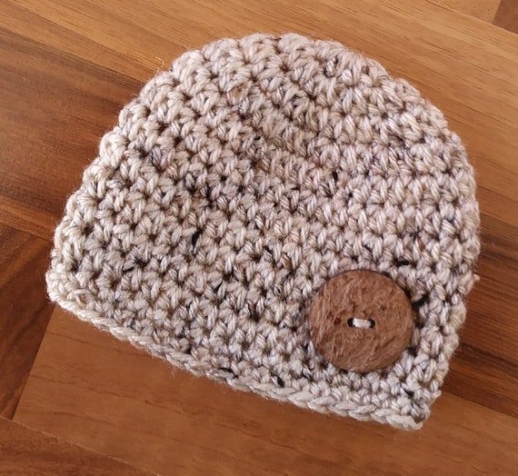 Crocheted Baby Boy Hat with Coconut Shell Button ~ Oatmeal Tweed ~ Baby Shower Gift ~ Photo Prop ~ Newborn to Teen Size ~ MADE TO ORDER