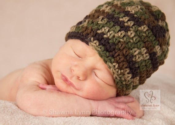 Crocheted Baby Boy Hat ~ Camo Baby Hat ~ Camouflage ~ Hunting Themed Hat ~ Baby Gift ~ Photo Prop ~ Newborn to Teen Size ~ MADE TO ORDER
