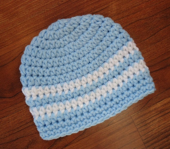 Crocheted Baby Boy Hat ~ Baby Blue & White ~ Hospital Hat ~ Baby Shower Gift ~ Photo Prop ~ Newborn to Teen Size ~ MADE TO ORDER