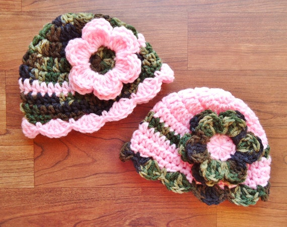 Crocheted Baby Girl/Girl Twin Hat Set with Flowers ~ Camouflage with Baby Pink & Baby Pink with Camouflage ~ Newborn to 5T ~ MADE TO ORDER
