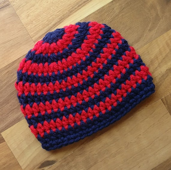 Crocheted Baby Boy Hat ~ Red & Dark Navy Blue ~ Baby Shower Gift ~ Photo Prop ~ Winter Hat ~ Newborn to Teen Size ~ MADE TO ORDER