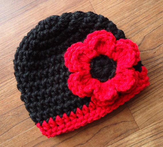 Crocheted Baby Girl Hat with Flower ~ Black and Bright Red ~ Baby Shower Gift ~ Winter Hat ~ Newborn to Teen Size  ~ MADE TO ORDER