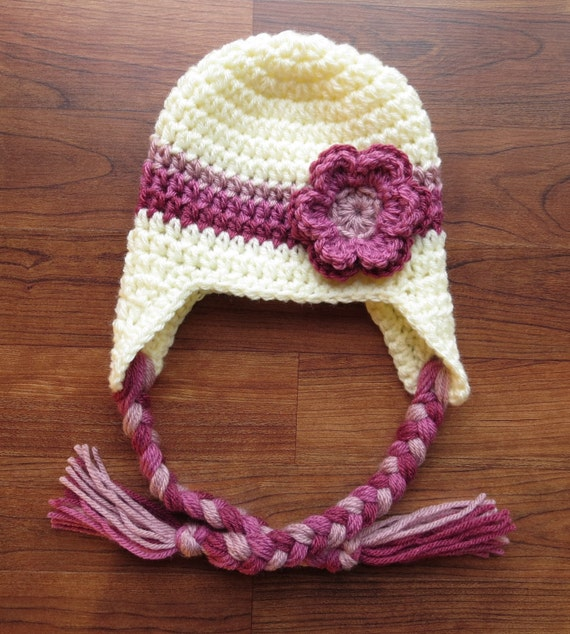 Crocheted Baby Girl Ear Flap Hat with Braided Ties and Flower ~ Cream, Dusty Rose, Rose & Antique Rose ~ Newborn - Teen Size ~ MADE TO ORDER