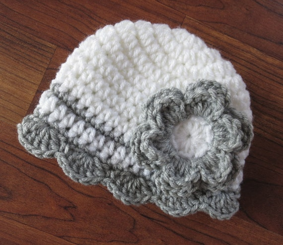 Crocheted Baby Girl Hat with Flower ~ White & Silver Gray ~ Baby Shower Gift ~ Newborn Photo Prop ~ Newborn to Teen Size ~ MADE TO ORDER
