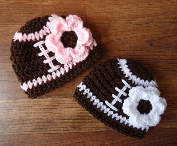 Crocheted Baby Girl/Girl Twin Hat Set ~ Football Hats with Flower ~ Pink or White Trim ~ Twin Girl Baby Gift ~ Newborn to 5T ~ MADE TO ORDER