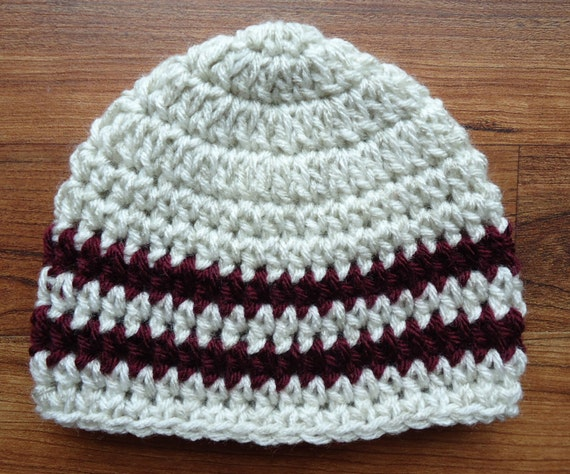 Crocheted Baby Boy Hat ~ Oatmeal with Burgundy Stripes ~ Baby Shower Gift ~ Winter Hat ~ Photo Prop ~ Newborn to Teen Size ~ MADE TO ORDER