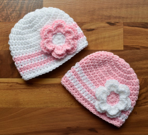 Crocheted Baby Girl/Girl Twin Hat Set ~ Baby Pink & White Hats with Flowers ~ Baby Shower Gift ~ Photo Prop ~ Newborn to 5T ~ MADE TO ORDER