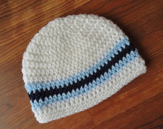 Crocheted Baby Boy Hat ~ White, Dark Navy Blue & Baby Blue ~ Baby Shower Gift ~ Photo Prop ~ Newborn to Teen Size ~ MADE TO ORDER
