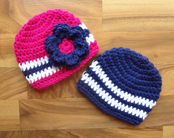 Crocheted Baby Boy/Girl Twin Hat Set ~ Bright Navy Blue, Dark Pink & White ~ Baby Shower Gift ~ Photo Prop ~ Newborn to 5T ~ MADE TO ORDER