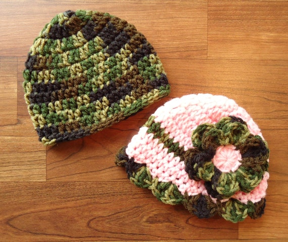 Crocheted Baby Boy/Girl Hats Set ~ Baby Pink & Camouflage ~ Baby Shower Gift ~ Photo Prop ~ Newborn to 5T ~ MADE TO ORDER
