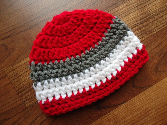 Crocheted Baby Boy Hat ~ Red, Pewter Gray & White ~ Baby Shower Gift ~ Photo Prop ~ Winter Hat ~ Newborn to Teen Size ~ MADE TO ORDER