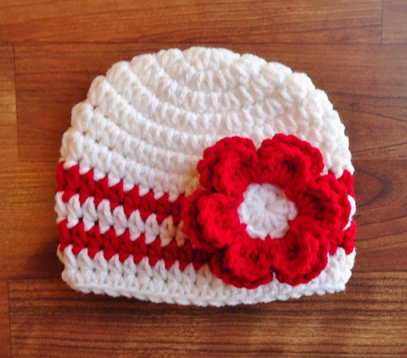Crocheted Baby Girl Hat with Flower ~ White & Red ~ Valentine's Day or Christmas ~ Baby Shower Gift ~ Newborn to Teen Size ~ MADE TO ORDER