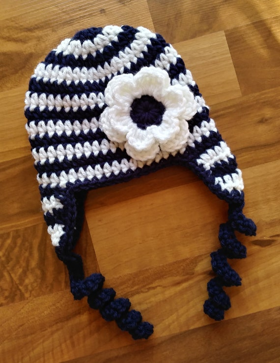 Crocheted Baby Girl Ear Flap Hat with Curly Ties and Flower ~ Dark Navy Blue & White Stripes ~ Newborn to Teen Size ~ MADE TO ORDER