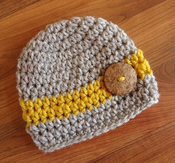 Crocheted Baby Boy Hat with Coconut Shell Button ~ Silver Gray Heather & Mustard Yellow ~ Baby Gift ~ Newborn to Teen Size ~ MADE TO ORDER