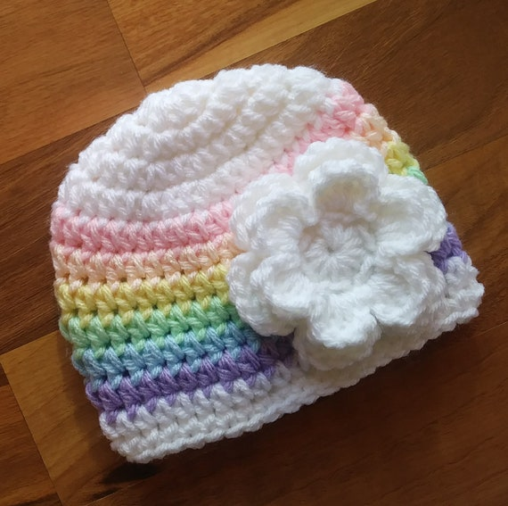 "Crocheted Baby Girl Hat ~ White ""Pastel Rainbow Baby"" Hat with White Flower ~ Baby Shower Gift ~ Newborn to Teen Size ~ MADE to ORDER"