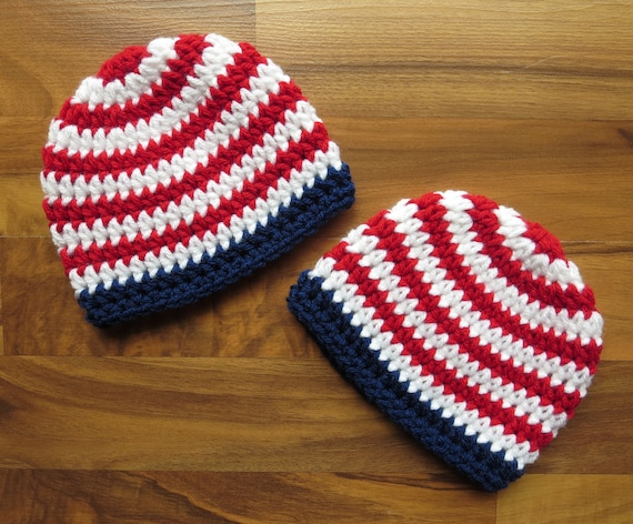 Crocheted Baby Twin Boy Hats ~ Bright Red & White Stripes with Bright Navy Blue Trim ~ Baby Shower Gift ~ Newborn to 5T ~ MADE TO ORDER
