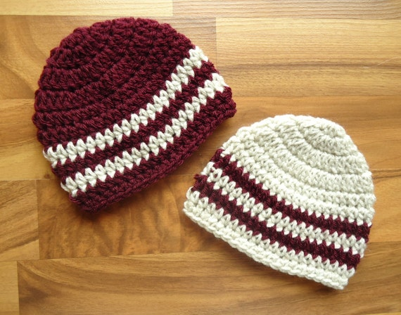 Crocheted Baby Boy/Boy Twin Hat Set ~ Burgundy & Oatmeal ~ Baby Shower Gift ~ Winter Hats ~ Photo Prop ~ Newborn to 5T ~ MADE TO ORDER