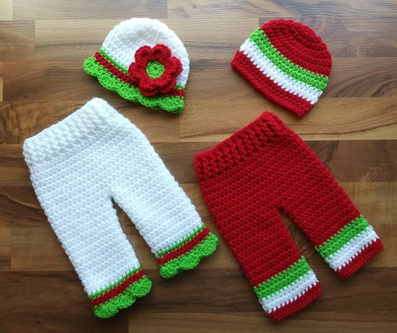 Crocheted Twin Baby Boy/Girl Christmas Hat and Pants Set ~ Bright Red, White & Lime Green ~ Photo Prop ~ Newborn (0-2 Month) ~ MADE TO ORDER
