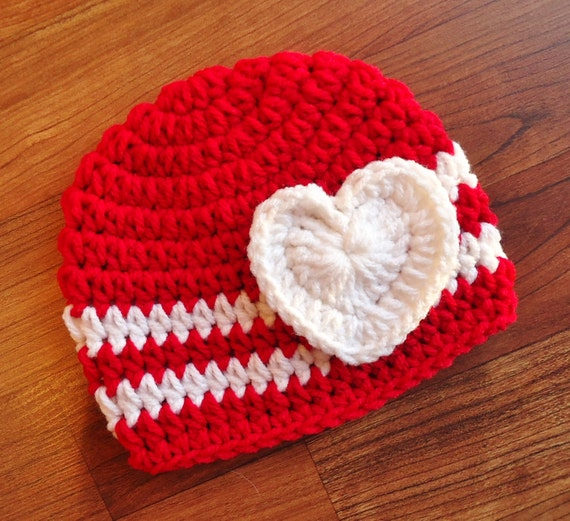 Crocheted Bright Red & White Baby Girl Valentine's Day Hat with Heart ~ Baby Shower Gift ~ Photo Prop ~ Newborn to Teen Size ~ MADE TO ORDER