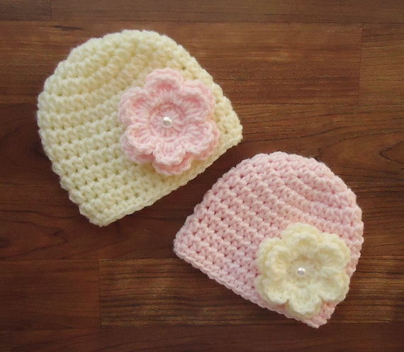 Crocheted Baby Girl/Girl Twin Hat Set ~ Cream & Pale Pink with Flowers and Faux Pearl Button ~ Baby Gift ~ Newborn to 5T ~ MADE TO ORDER