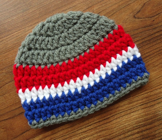 Crocheted Baby Boy Fourth of July Hat ~ Pewter Gray with Bright Red, White, & Royal Blue ~ Baby Gift ~ Newborn to Teen Size ~ MADE TO ORDER