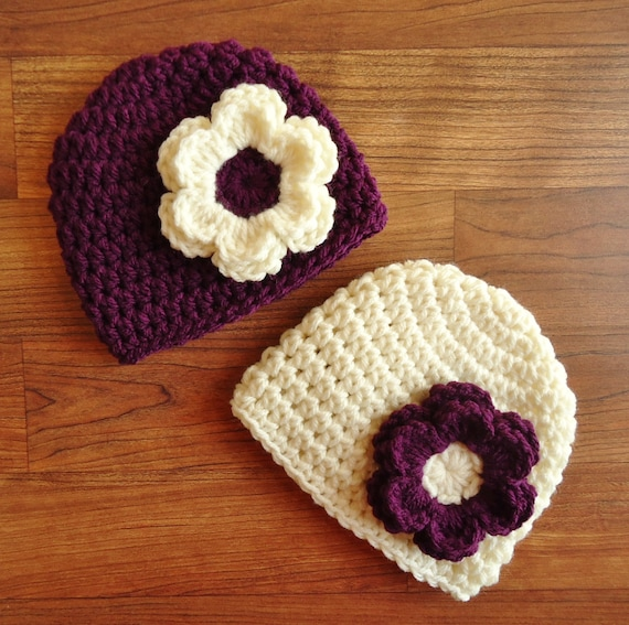 Crocheted Baby Girl/Girl Twin Hat Set ~ Plum Purple & Cream Hats with Flowers ~ Baby Shower Gift ~ Newborn to 5T ~ MADE TO ORDER