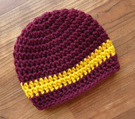 Crocheted Baby Boy Hat ~ Maroon & Gold ~ College Colors Hat ~ Baby Shower Gift ~ Photo Prop ~ Newborn to Teen Size ~ MADE TO ORDER