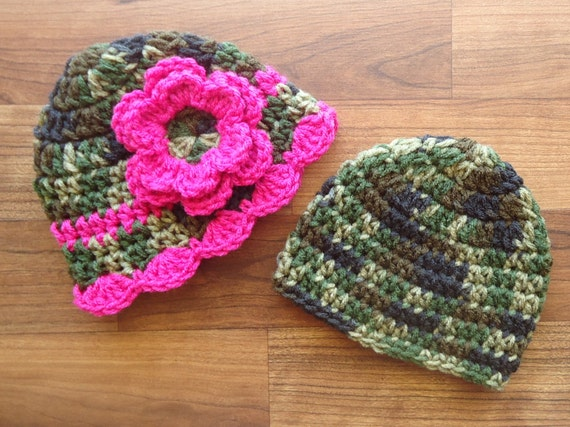 Crocheted Baby Boy/Girl Twin Hat Set ~ Camouflage & Dark Pink Camo ~ Photo Prop ~ Baby Shower Gift ~ Newborn to 5T ~ MADE TO ORDER