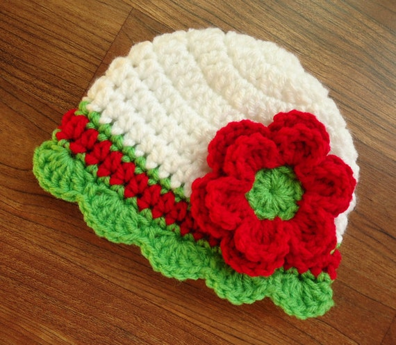 Crocheted Baby Girl Christmas Hat with Flower and Ruffle Edging ~  White, Bright Red, Lime Green ~ Newborn to Teen Size ~ MADE TO ORDER