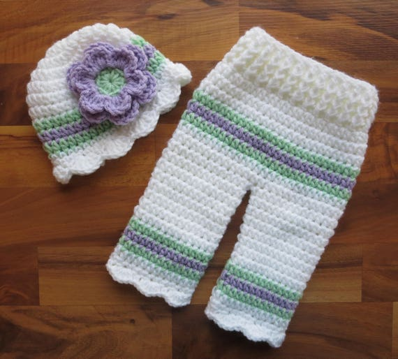 Crocheted Baby Girl Hat and Pants Set ~ White, Lavender & Seafoam Green ~ Baby Gift ~ Photo Prop ~ Newborn (0-2 Month) ~ MADE TO ORDER