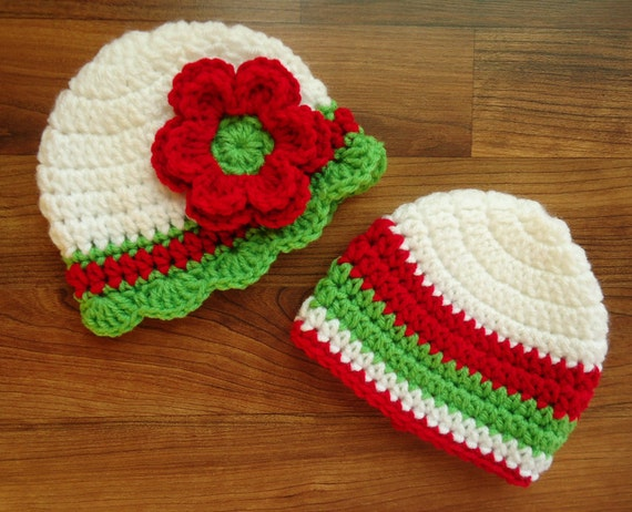 Crocheted Twin Baby Boy/Girl Christmas Hats ~ Bright Red, White & Lime Green ~ Baby Shower Gift ~ Newborn to 5T ~ MADE TO ORDER