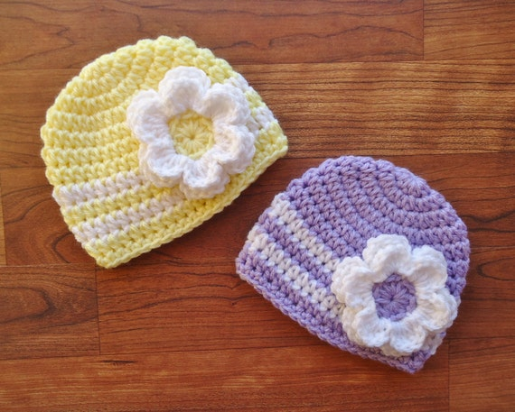 Crocheted Baby Girl/Girl Twin Hat Set ~ Choose Baby Pink, Lavender or Yellow Hats & White Flower ~ Baby Gift ~ Newborn to 5T ~ MADE TO ORDER