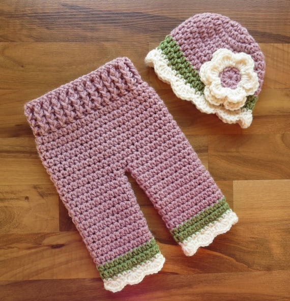 Crocheted Baby Girl Hat and Pants Set ~ Dusty Rose, Dusty Green & Cream ~ Baby Gift ~ Photo Prop ~ Newborn (0-2 Month) ~ MADE TO ORDER
