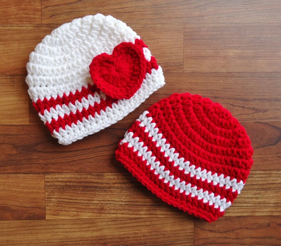 Crocheted Baby Boy/Girl Twins Valentine's Day Hat Set ~ Bright Red & White Hats with Hearts ~ Baby Gift ~ Newborn to 5T ~ MADE TO ORDER