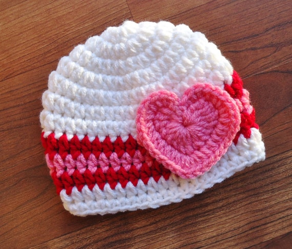 Crocheted Baby Girl Valentine's Day Hat with Heart ~ White, Bright Red & Bubblegum Pink ~ Baby Gift ~ Newborn to Teen Size ~ MADE TO ORDER