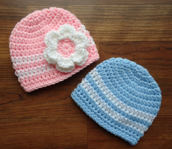 Crocheted Baby Boy/Girl Twin Hat Set ~ Baby Blue with White Hat & Baby Pink Hat with White and a Flower ~ Newborn to 5T ~ MADE TO ORDER