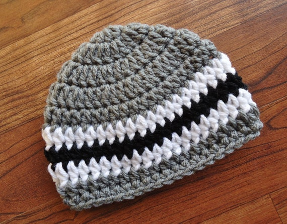 Crocheted Baby Boy Hat ~ Pewter Gray, Black & White ~ Baby Shower Gift ~ Photo Prop ~ Newborn to Teen Size ~ MADE TO ORDER