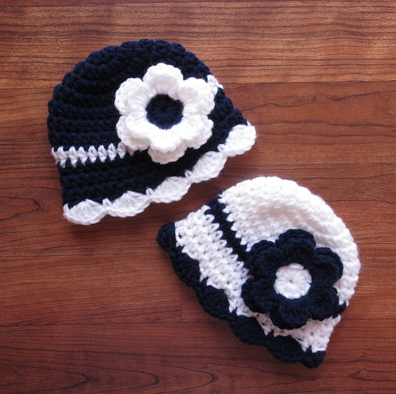 Crocheted Baby Girl/Girl Twin Hat Set ~ Dark Navy Blue & White with Flowers ~ Sailor Themed Hats ~ Baby Gift ~ Newborn to 5T ~ MADE TO ORDER