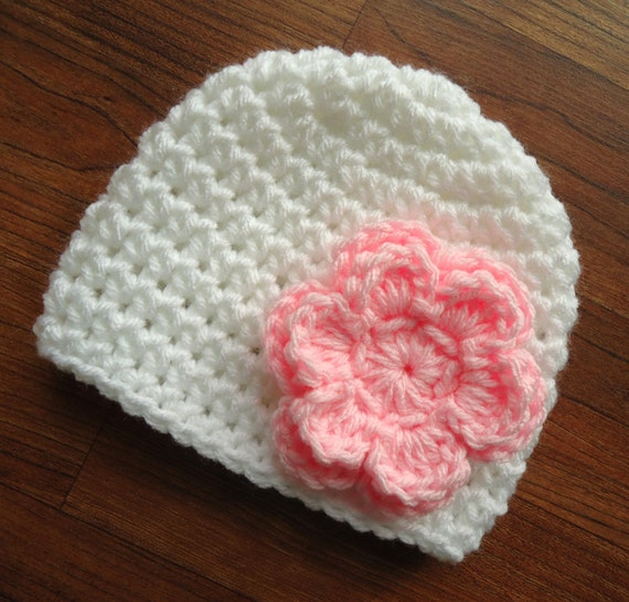 Crocheted Baby Girl Hat with Flower ~ White & Baby Pink ~ Winter Hat ~ Baby Gift ~ Hospital Hat ~ Newborn to Teen Size ~ MADE TO ORDER