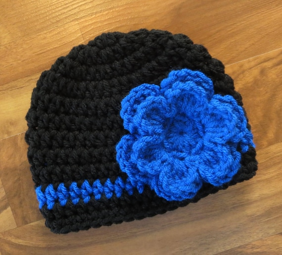 Crocheted Baby Girl Hat ~ Black & Royal Blue ~ Thin Blue Line Flower Hat ~ Baby Gift ~ Photo Prop ~ Newborn to Teen Size ~ MADE TO ORDER