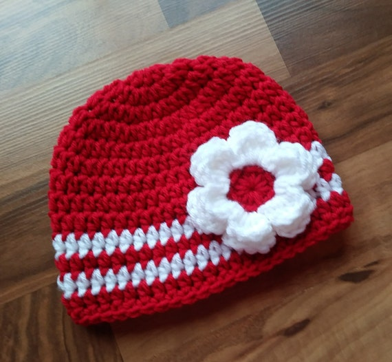 Crocheted Baby Girl Hat with Flower ~ Red & White ~ Valentine's Day or Christmas ~ Baby Shower Gift ~ Newborn to Teen Size ~ MADE TO ORDER