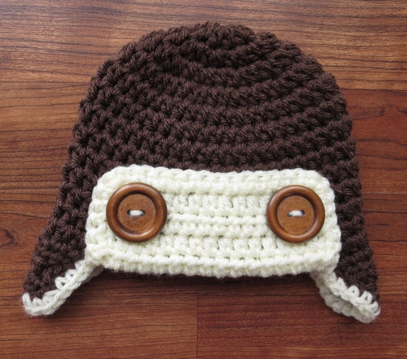 Crocheted Baby Aviator Earflap Hat with Wooden Buttons ~ Cocoa Brown & Cream ~ Winter Hat ~ Newborn to Teen Size ~ MADE TO ORDER