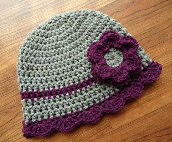Crocheted Baby Girl Hat with Flower and Ruffled Edge ~ Pewter Gray & Plum Purple ~ Baby Shower Gift ~ Newborn to Teen Size ~ MADE TO ORDER