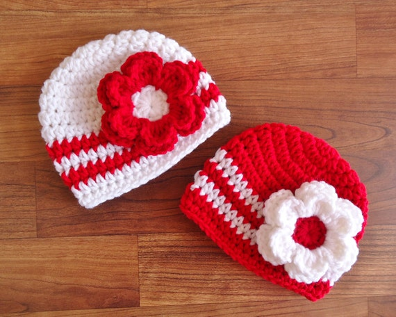 Crocheted Baby Girl/Girl Twin Hat Set ~ Bright Red & White Hats with Flowers ~ Baby Shower Gift ~ Photo Prop ~ Newborn to 5T ~ MADE TO ORDER