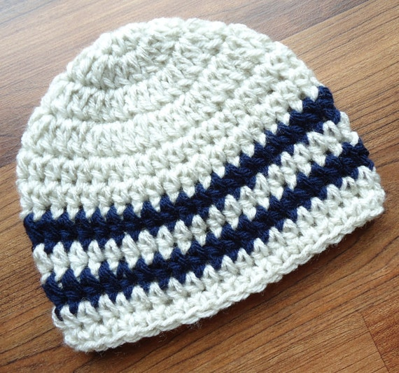 Crocheted Baby Boy Hat ~ Oatmeal with Dark Navy Blue Stripes ~ Baby Shower Gift ~ Photo Prop ~ Newborn to Teen Size ~ MADE TO ORDER