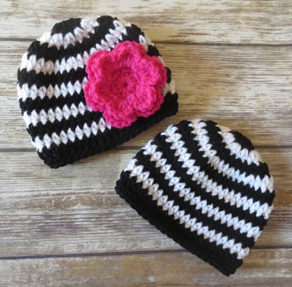 Crocheted Baby Boy/Girl Twin Hat Set ~ Black & White Stripes ~ Fuchsia Flower ~ Baby Shower Gift ~ Newborn to 5T ~ MADE TO ORDER