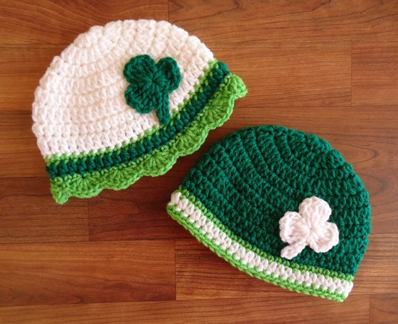 Crocheted Twin Baby Boy/Girl St. Patrick's Day Hat Set ~ White, Kelly Green & Lime Green with Shamrocks ~ Newborn to 5T ~ MADE TO ORDER