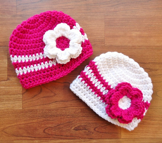 Crocheted Baby Girl/Girl Twin Hat Set ~ Fuchsia Pink & White ~ Baby Shower Gift ~ Winter Hats ~ Newborn to 5T ~ MADE TO ORDER
