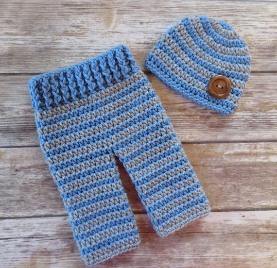 Crocheted Baby Boy Pants and Hat with Wooden Button Set ~ Bluebell & Silver Gray ~ Gift or Photo Prop ~ Newborn (0-2 Month) ~ MADE TO ORDER
